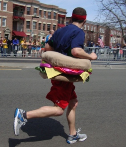 This 2012 Boston Marathon Runner needed the bun on that burger to keep him going at mile 23!